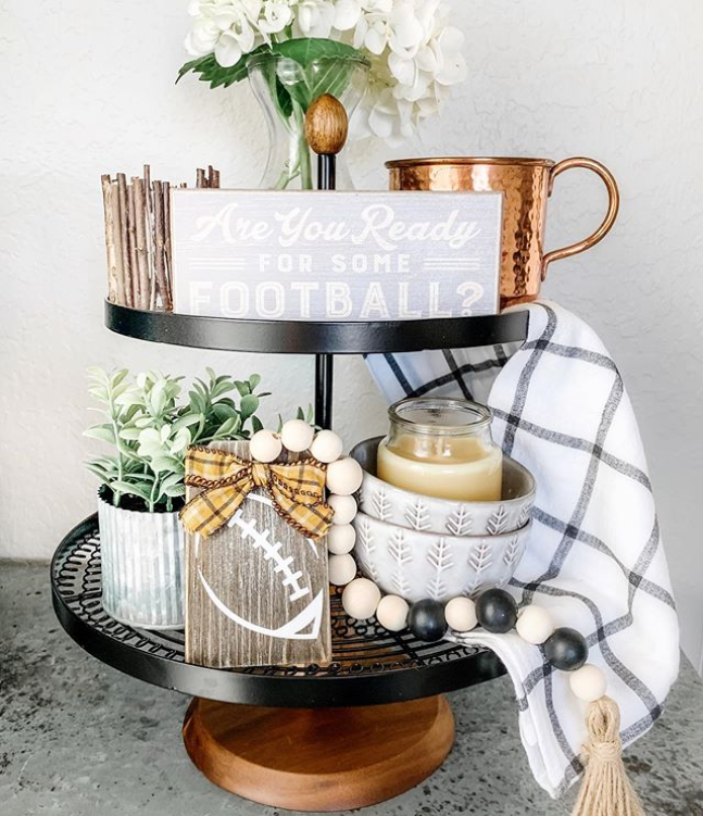 Two-tier tray with football decor for fall