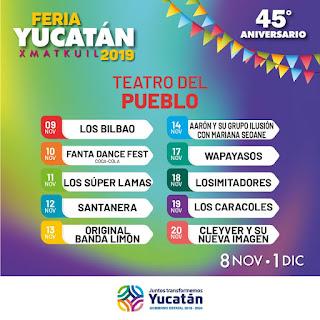 cartelera feria yucatán 2019