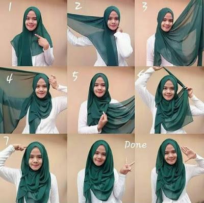 tutorial jilbab segiempat