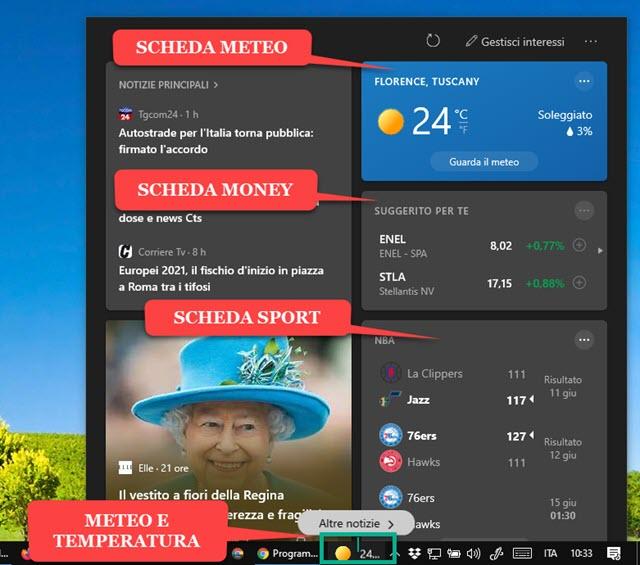 widget notizie interessi windows