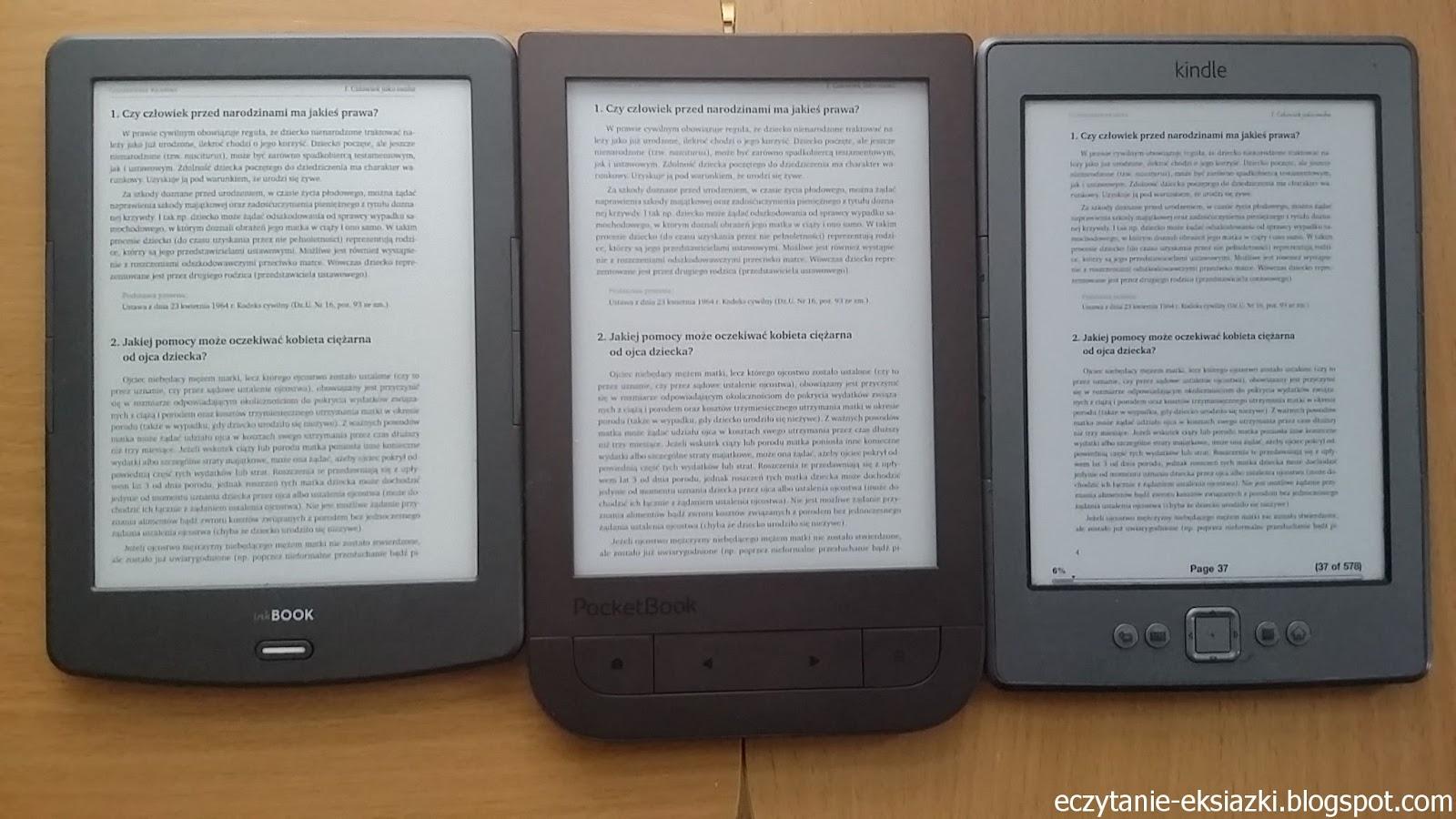 porównanie czytników InkBOOK Classic 2, PocketBook TouchHD2 i Kindle Classic