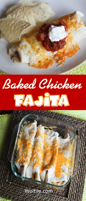 Baked Chicken Fajitas Recipe #Chicken