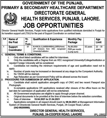 Primary and secondary healthcare department jobs 2021 application form