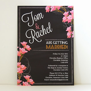 Blossom chalkboard wedding invitation