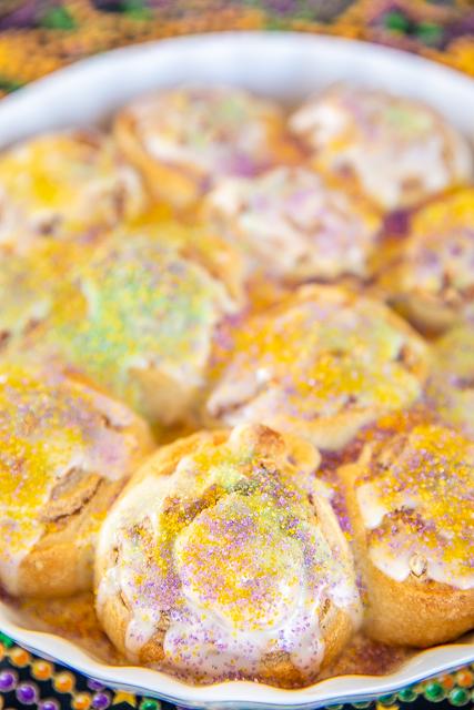 pan of king cake rolls