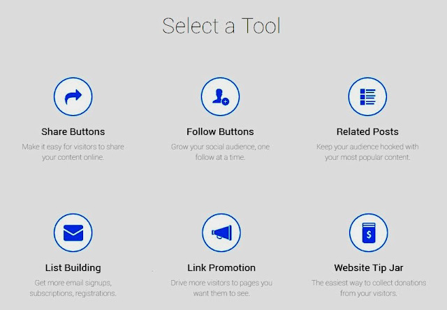 different kinds of tools available on AddThis