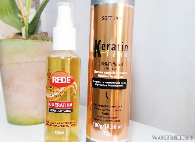 [Cronograma Capilar] Comprinhas capilares - Queratina liquida by Rede / Queratina Gel Soft Hair