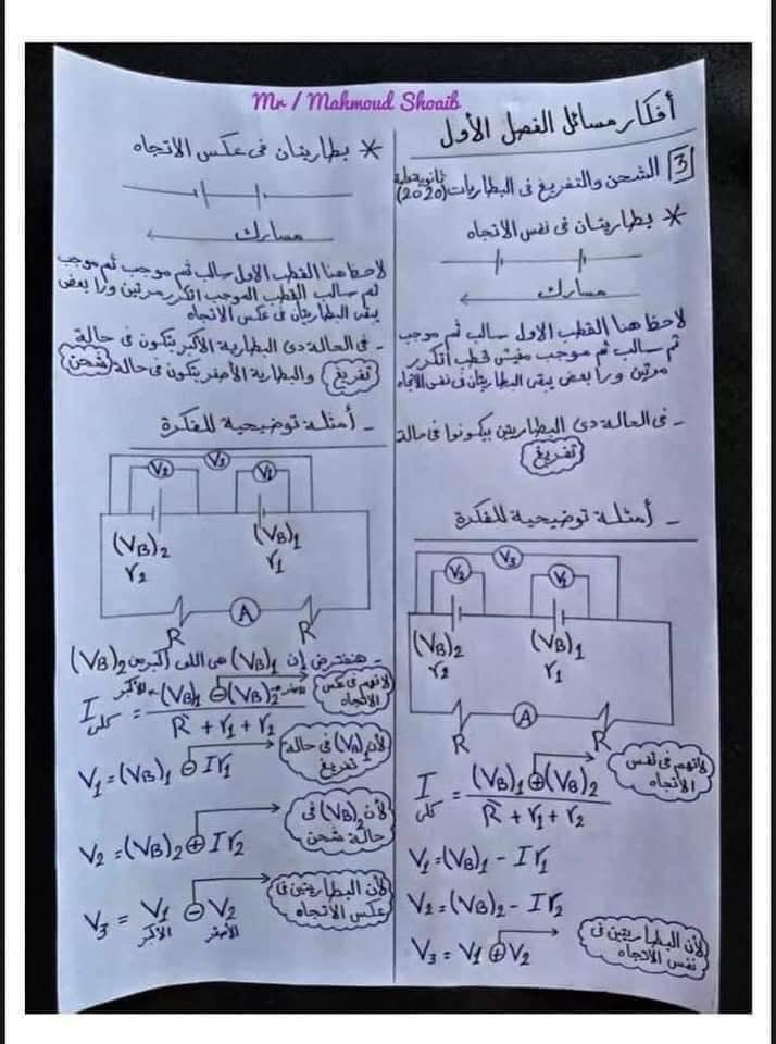 جميع أفكار مسائل الفصل الأول في الفيزياء للثانوية العامة - مهمة جداً 4