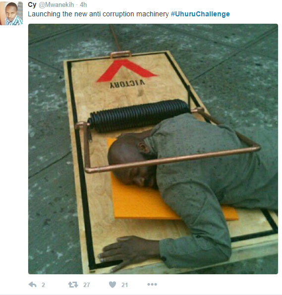 "LMAO! Kenyans mock President Uhuru for speaking ""big grammer"" over footbridge commissioning"