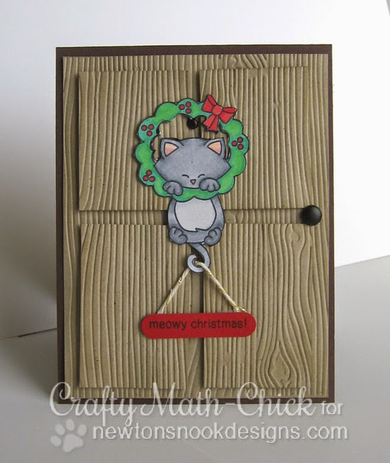 Kitty Front Door card by Crafty Math Chick | Newton's Holiday Mischief Stamp set by Newton's Nook Designs