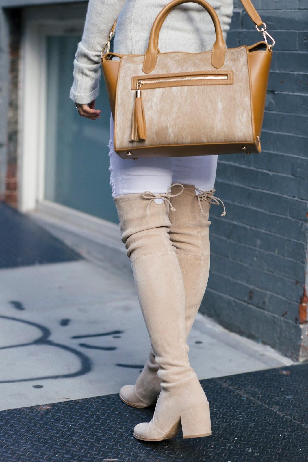 winter white frame denim le color ripped skinny stuart weitzman tieland boots gigi new york satchel
