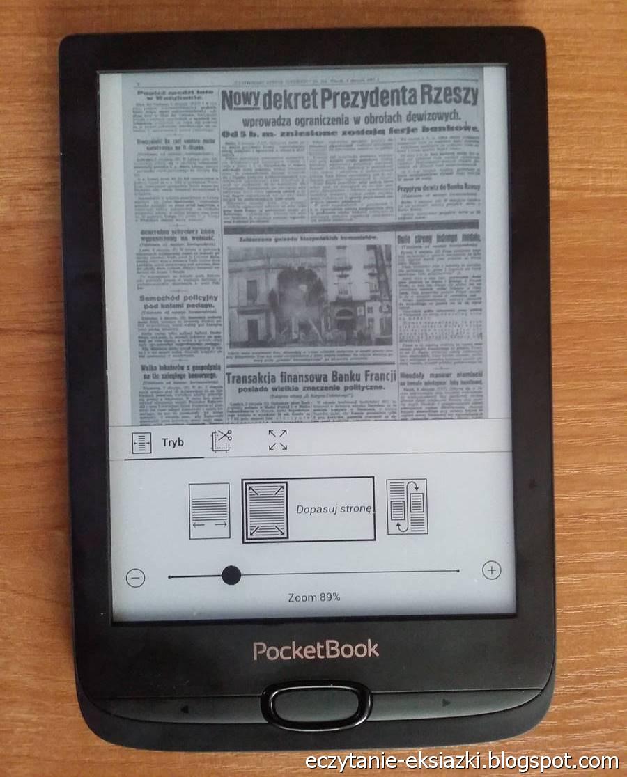 PocketBook Basic Lux 2 – plik DJVU ze stroną z gazety Ilustrowany Kuryer Codzienny w trybie zwykłym