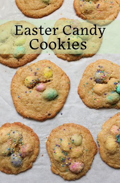Food Lust People Love: Never mind that Easter bunny left too many sweets. This recipe will turn that excess into buttery Easter Candy Cookies your whole family will love. For these cookies I used a mix of the peanut butter filled M&M eggs and the caramel filled M&Ms, which looked like eggs as well, though the packaging didn't say that. It was an excellent combo!
