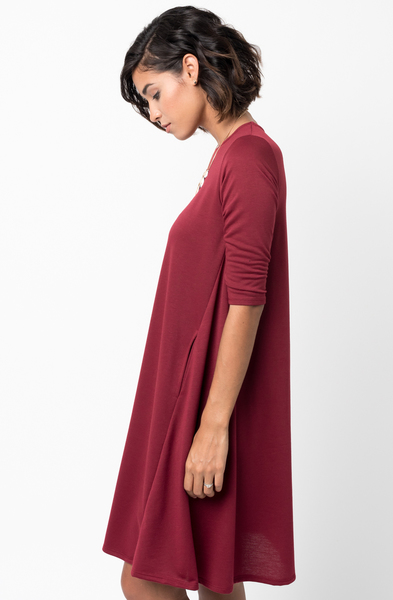 Burgundy Pocket Terry A Line Dress Swing Long Sleeve Crew Neck