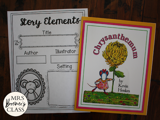 Chrysanthemum book study literacy unit with Common Core aligned companion activities and craftivity K-1
