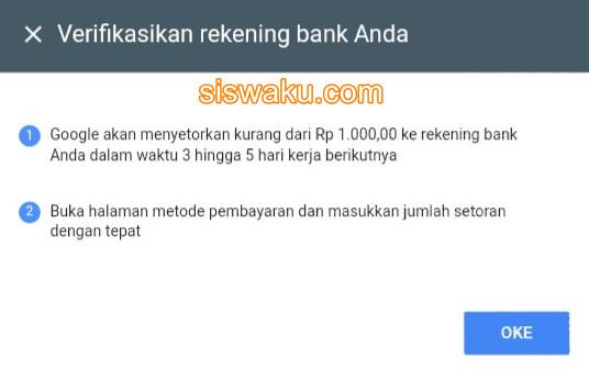Google mengirim nominal di bawah 1000 pin verifikasi