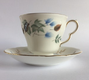 Vintage Tea Cup Soy Candle Blue and Brown