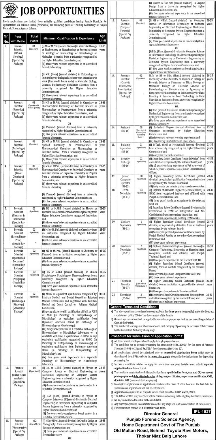 Punjab Forensic Science Agency PFSA Jobs 2021 in Pakistan - Download PSFA Jobs 2021 Application Form :- www.psfa.gop.pk
