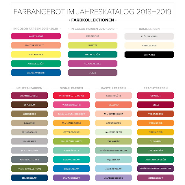 Stampin' Up! rosa Mädchen Kulmbach: Farberneuerung ab 1. Juni 2018 mit Farbwerttabelle (CMYK, RGB und HEX)