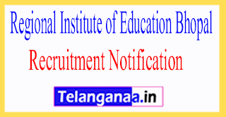 Regional Institute of Education RIE Bhopal Recruitment Notification 2017