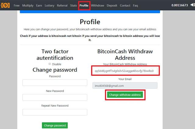 كيفية تغيير عنوان السحب في موقع Free Bcash