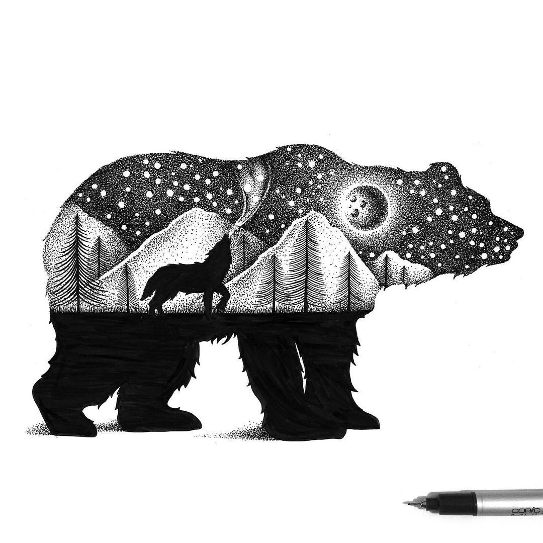 03-Bear-and-Howling-Wolf-Thiago-Bianchini-Eclectic-Collection-of-Drawings-and-Illustrations-www-designstack-co