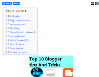 Table Of Contents (TOC)। Top 10 blogger tips and tricks । Blogger tutorial  - mr laboratory