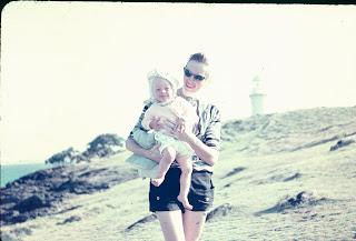 Fingal Lighthouse, early 1960s, Mum & I