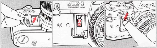 Canon AE-1 Program, Installing the battery