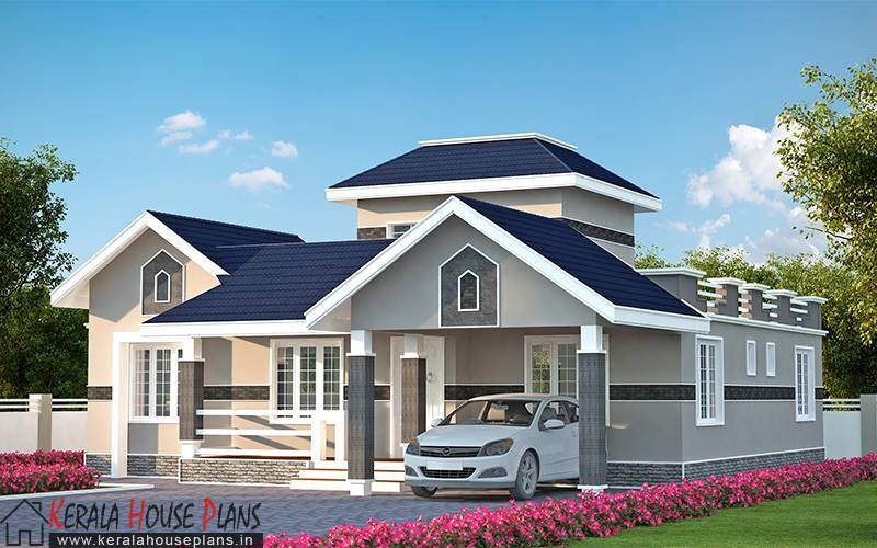 three bedroom kerala model house elevation