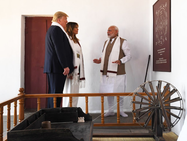 Image Attribute: President Donald Trump and First Lady Melania Trump with Prime Minister Narendra Modi at Sabarmati Ashram / Date: February 24, 2020, / Source: PMO