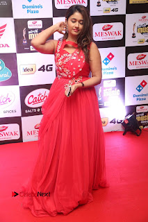 Actress Poonam Bajwa Pictures in Red Long Dress at Mirchi Music Awards South 2015  0089.JPG