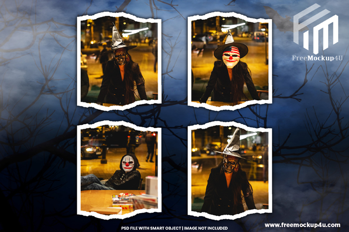 Halloween Photo Frame Mockup Premium PSD