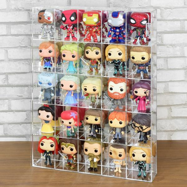 Acrylic Display Rack from Nile Corp displaying 25 Funko Pop collectibles