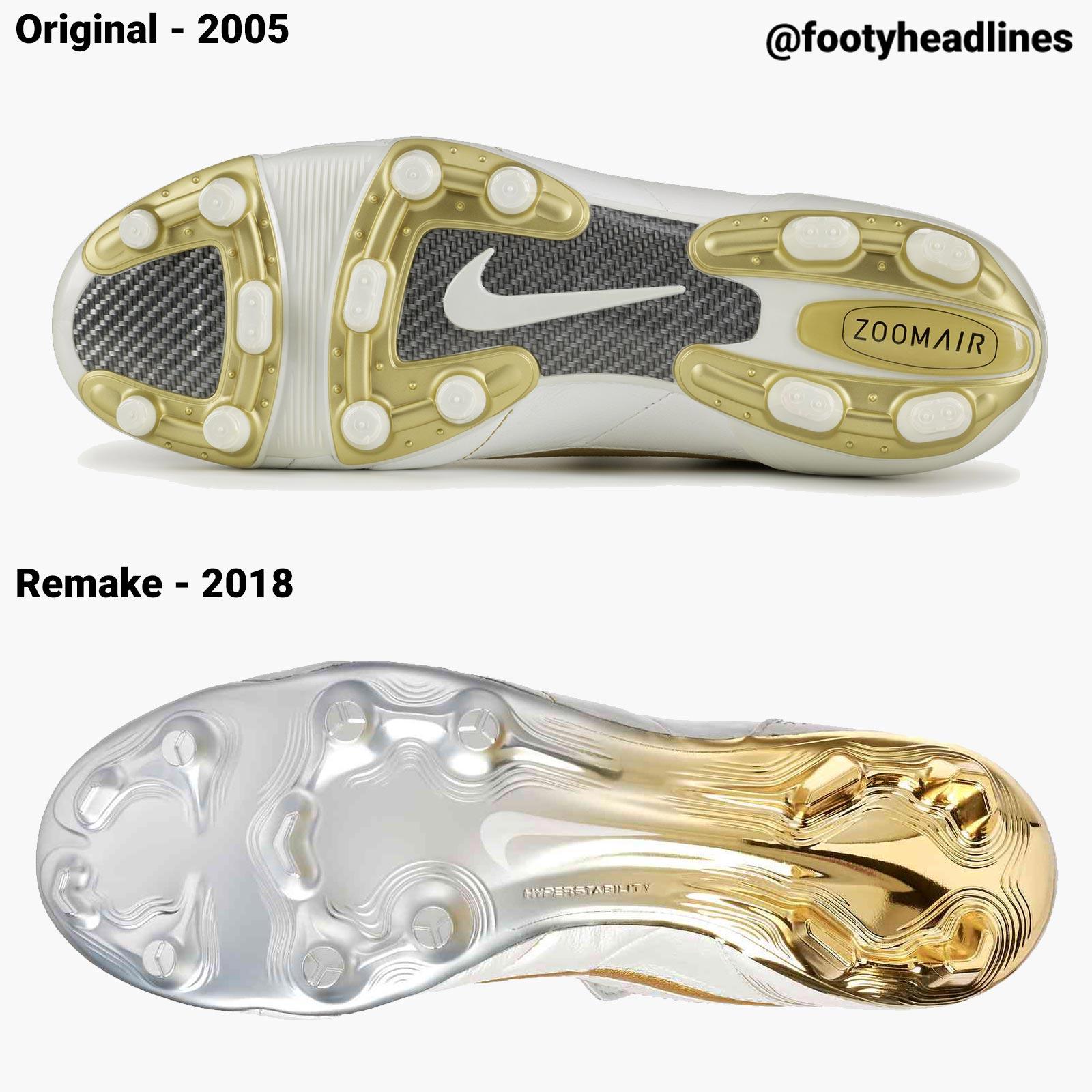 huge discount 87897 f45b1 Nike Air Legend Tiempo Ronaldinho - 2018 Remake vs 2005 ...