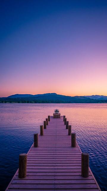 Papel de Parede Lindo entardecer Cais no Lago
