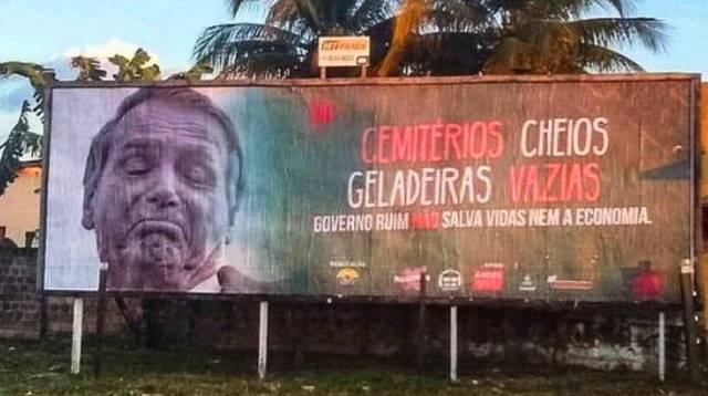 Cemitérios cheios, geladeiras vazias: outdoors contra Bolsonaro são retirados após acordo em MT