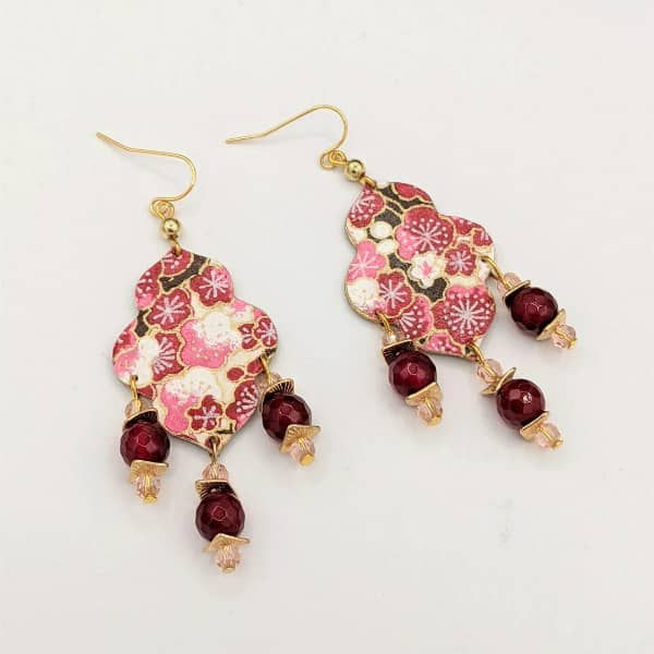 red and pink origami paper and brass earrings with garnet beads