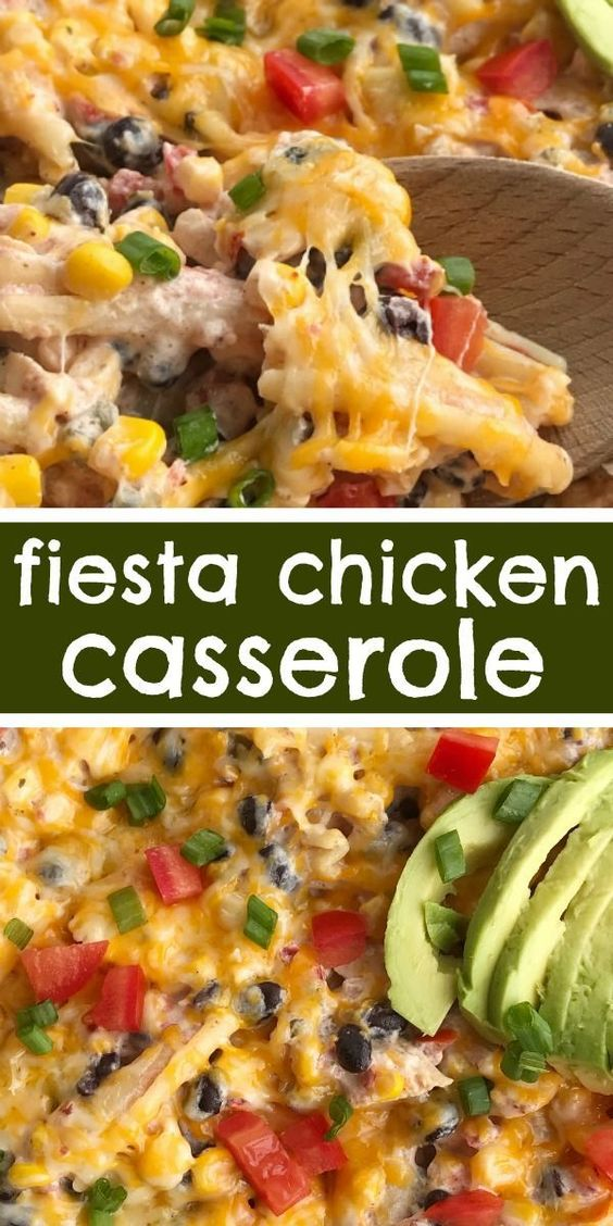 Fiesta Chicken Casserole #recipes #dinnerideas #quickdinnerideas #food #foodporn #healthy #yummy #instafood #foodie #delicious #dinner #breakfast #dessert #lunch #vegan #cake #eatclean #homemade #diet #healthyfood #cleaneating #foodstagram