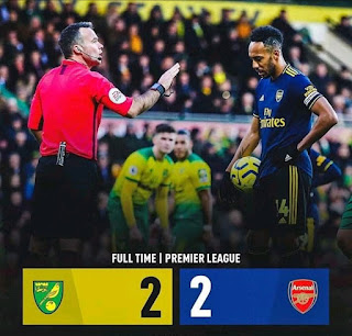 Pierre-Emerick Aubameyang first half penalty and second half goal saw Arsenal come back twice to get a draw against Norwich at Carrow Road under new Interim manager Freddi Ljungberg after the sacking of Unai Emery.