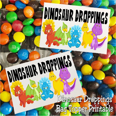Dinosaur Droppings bag topper printable perfect for a Dinosaur party to use as party favors.