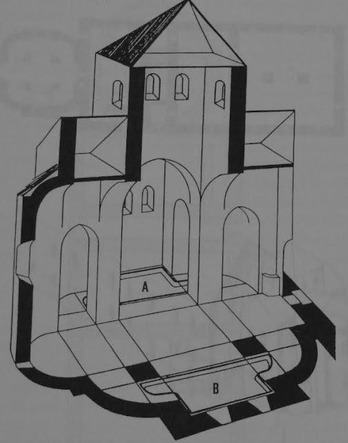 rycina przedstawiająca przekrój kaplicy przypalatialnej na Ostrowie Lednickim