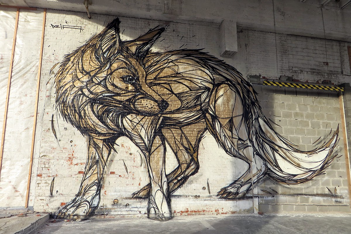 """DZIA recently stopped by the city of Vilvoorde in Belgium where he spent a few hours working on this new piece entitled """"Gold Fox""""."""