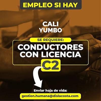 Oferta de Trabajo ⏩ y Empleo en Cali como CONDUCTOR LICENCIA C2