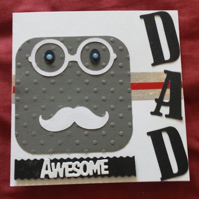 "Awesome DAD - stylised vintage gent 6"" square white card"