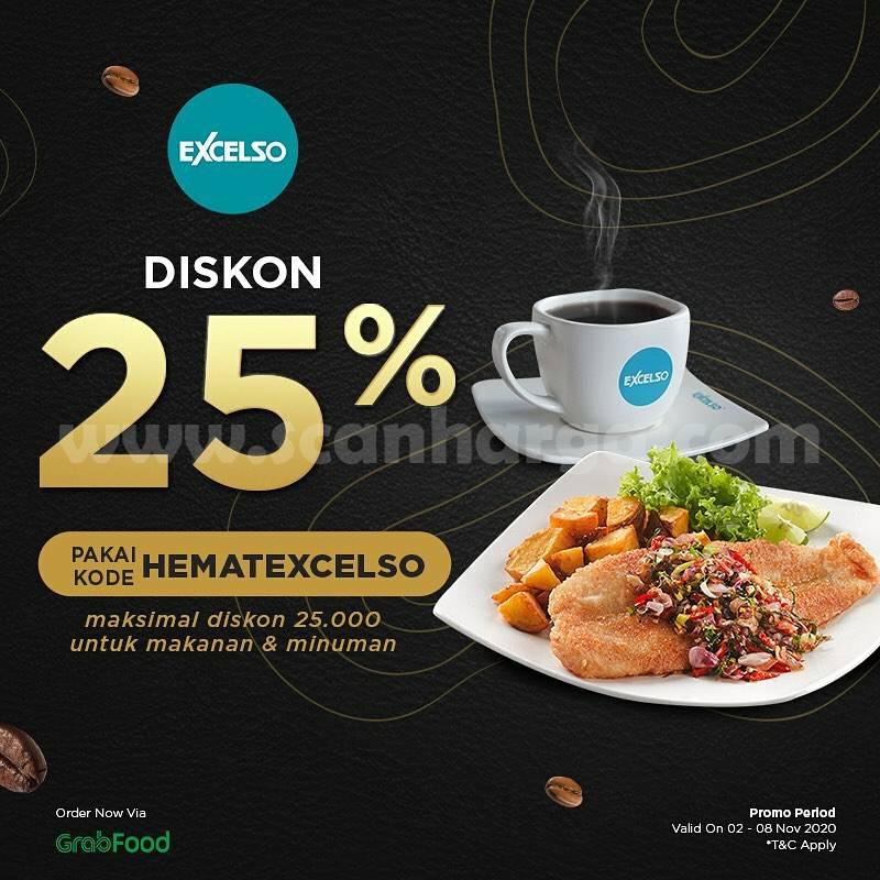 Promo Excelso Coffee Diskon 25% khusus pembayaran via Grabfood