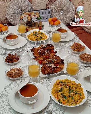 عشاء مغربي بالدجاج مشوي في الفرن