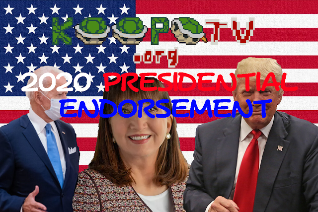 KoopaTV 2020 presidential endorsement Koopa Kingdom United States Donald Trump Joe Biden Jo Jorgensen