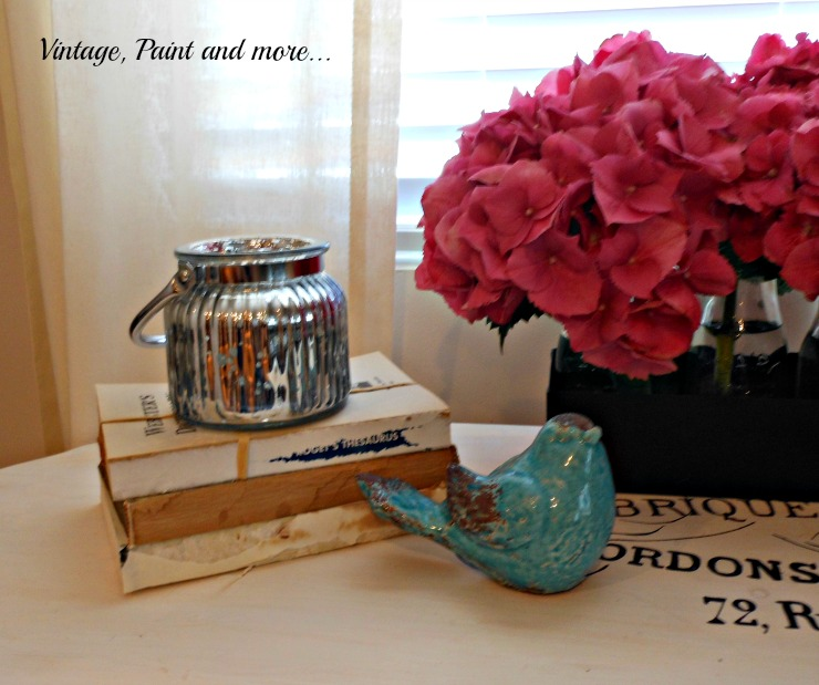Vintage, Paint and more... mercury glass votive with old books and hydrangeas