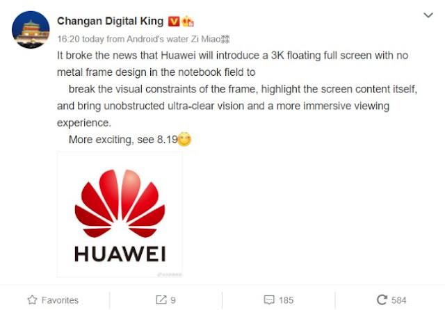 Huawei rumored to launch a Frameless Laptop - Qasimtricks.com